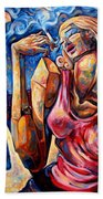 Muse Of The Long Neck In The Night City Bath Towel