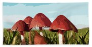 Mushrooms In Autumn Bath Towel