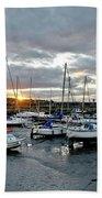 Musselburgh Marina In The Sunset. Bath Towel