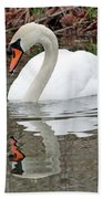 Mute Swan Reflecting Bath Towel