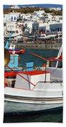 Mykonos Greece Fishing Boats Bath Towel