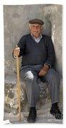 Mykonos Man With Walking Stick Bath Towel
