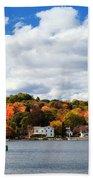 Mystic River In Autumn Bath Towel