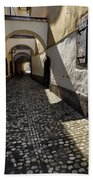 Narrow Cobblestone Alley Ribji Trg Or Fish Square From Cankar Qu Bath Towel