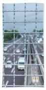 Narrow Depth Of Field Looking Down From Railing Onto Busy Highway Bath Towel