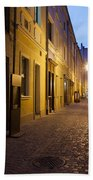 Narrow Street In Old Town Of Wroclaw In Poland Bath Towel