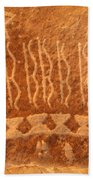 Native American Petroglyph On Orange Sandstone Bath Towel