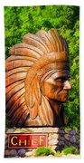 Native American Statue Bath Towel