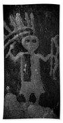Native American Warrior Petroglyph On Sandstone Bath Towel