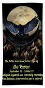 Native American Zodiac Sign Of The Raven Bath Towel