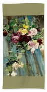 Natura Morta Con Rose Giovanni Boldini Bath Towel
