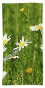 Nature Spring Scene White Wild Flowers Bath Towel