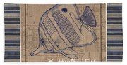 Nautical Stripes Butterfly Fish Hand Towel