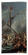 Naval Battle Between Spanish And Turks Bath Towel