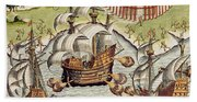 Naval Battle Between The Portuguese And French In The Seas Off The Potiguaran Territories Bath Towel