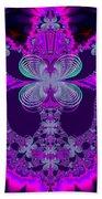 Neon Butterflies And Rainbow Fractal 137 Bath Towel