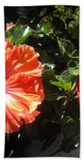 Neon-red Hibiscus Flowers 6-17 Bath Towel