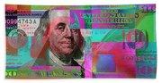 New 2009 Series Pop Art Colorized Us One Hundred Dollar Bill  No. 3 Bath Towel