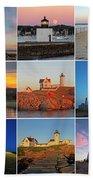 New England Lighthouse Collage Bath Towel