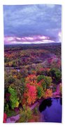 New Hampshire Fall Sunset Over Pond Hand Towel