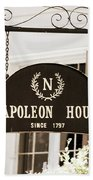 New Orleans Sign - Napoleon House - Sepia Bath Towel