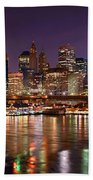 New York City Brooklyn Bridge And Lower Manhattan At Night Nyc Bath Towel