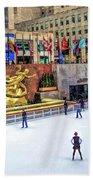 New York City Rockefeller Center Ice Rink Bath Towel