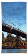 New York City Skyline By Night Bath Towel
