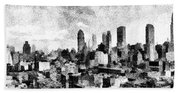 New York City Skyline Sketch Bath Towel