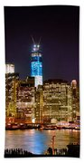 New York City Tribute In Lights And Lower Manhattan At Night Nyc Bath Towel