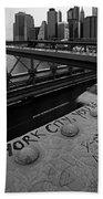 New York City You're Beautiful Brooklyn Bridge Ny Black And White Bath Towel