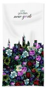 New York Skyline Floral 3 Hand Towel