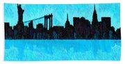 New York Skyline Silhouette Cyan - Da Bath Towel