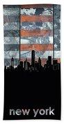 New York Skyline Usa Flag 5 Bath Towel