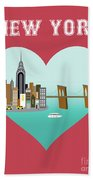 New York Vertical Skyline - Heart Bath Towel