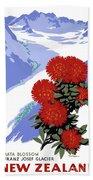 New Zealand Rata Blossom Vintage Travel Poster Hand Towel