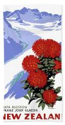 New Zealand Rata Blossom Vintage Travel Poster Bath Towel