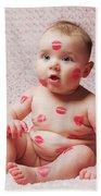 Newborn Baby Gir Filled Kisses Bath Towel