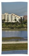 Newport Estuary Looking Across At Major Hotel And Businesses Bath Towel