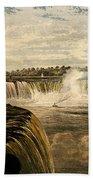 Niagara Falls With Rainbow, 1860 Bath Towel