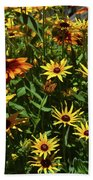 Nice Close Up Of Black Eyed Susans In Nature Bath Towel