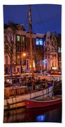 Night Lights On The Amsterdam Canals 7. Holland Bath Towel