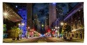 Night Shot Of Broad Street - Philadelphia Hand Towel