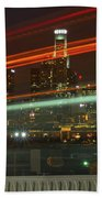 Night Shot Of Downtown Los Angeles Skyline From 6th St. Bridge Bath Towel