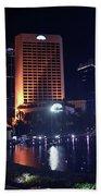 Night Skyline Of Jakarta Indonesia 3 Bath Towel
