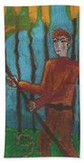 Nine Of Wands Illustrated Hand Towel