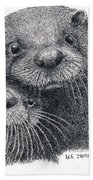 North American River Otters Bath Towel