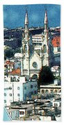 North Beach San Francisco - Watercolor Bath Towel