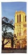 Notre Dame De Paris Facade Bath Towel