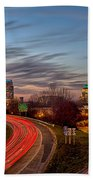 November Sun Setting Over Charlotte North Carolina Skyline Bath Towel